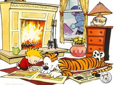 Calvin and Hobbes 1024x768 Wallpaper