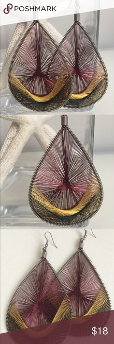 """Peruvian earrings Maroon, gold and black...essential colors that are in-style all year long. Add these handwoven earrings to make that outfit pop! Maroon/ gold/ black threading. Handmade in Peru. 4 1/4"""" long x 2 1/2"""" wide. Jewelry Earrings"""