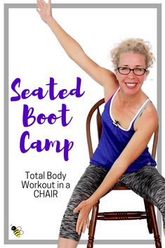 seated boot camp 10 minute stackable tough sweaty bodyweight cardio strength in a chair Fitness Tracker, Training Fitness, Fitness Diet, Health Fitness, Fitness Design, Fitness Goals, Yoga Fitness, Fitness Plan, Stretching
