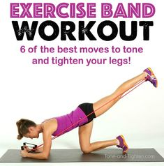 The best lower body resistance band exercises to tone and shape your legs at home! Resistance Tube Workout, Resistance Band Exercises, Pop Workouts, At Home Workouts, Band Workouts, Exercise Bands, Fitness Workouts, Fitness Tips, Leg Workout With Bands