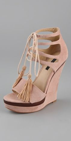 Rachel Zoe Kayne Wedge Sandals in Pink (blush) Hot Shoes, Crazy Shoes, Me Too Shoes, Pretty Shoes, Beautiful Shoes, Beauty Online Shop, Wedge Sandals, Wedge Shoes, Shoe Boots