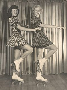 1950s Roller Skating Girls.