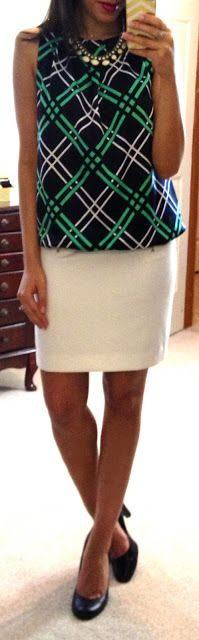Liz Claiborne Sleeveless Bubble Top, F21 pencil skirt, Jessica Simpson pumps.