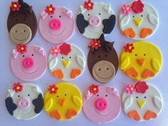 Girl Farm Animal Cupcake Topper Variety One by Clementinescupcakes