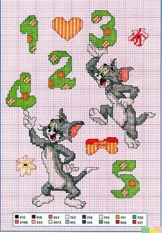 Alfabeto punto croce con Tom e Jerry (4)