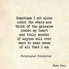 Sense of all that I am - Christopher Poindexter - quote - More