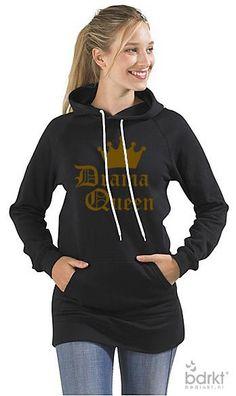New Dames Longer Hoodie, bedrukt met Drama Queen op http://www.bedrukt.nl.