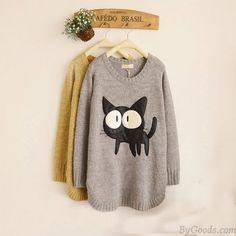 Fashion Cute Cat Slit Hem PU Patch Sleeve Sweater