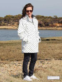 Ladies' Polka Dot Lined Raincoat with Hood, White/Navy stripe lining, http://www.thenauticalcompany.com/women-raincoat-polka-dot-white-navy/prod_313.html - THE NAUTICAL COMPANY