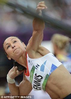 Jessica Ennis - recording a high throw of 14.28