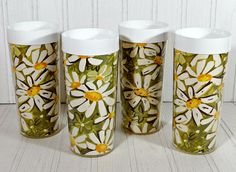 Vintage '70s Avocado & Daisy Pattern West Bend Thermo-Serv Insulated Tumblers by TimelessTreasuresbyM on Etsy
