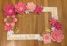 """Pretty in Pink Wedding Selfie Frame This beautiful customized selfie frame is a great addition for your next special event! Perfect for any special occasion including weddings, baby showers and birthdays! This is the LARGE frame measuring at 30"""" x 20"""" and is made out of durable"""