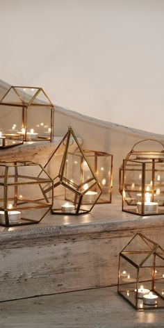 Geometric candle holders as wedding decor idea.
