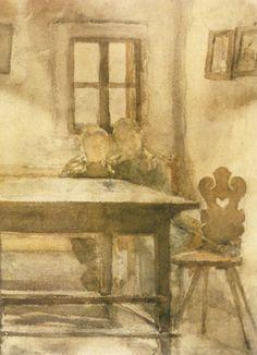 Slava Raskaj, Children in Pesant Room (Djeca u seljačkoj sobi) #raskaj #watercolor #croatia