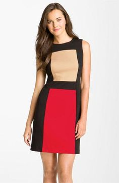 f4257ec83b5 Calvin Klein Sleeveless Colorblock Ponte Sheath Dress Vestido Multicolor