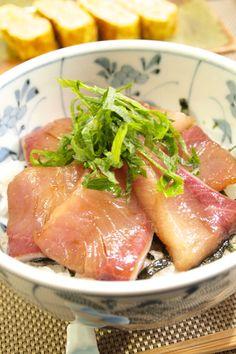 【和食】簡単!「お刺身で☆自家製ぶりの漬け丼」で晩ごはん。