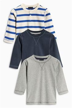 15d511b51925 Buy Blue Stripe Long Sleeve Tops Three Pack (3mths-6yrs) from the Next