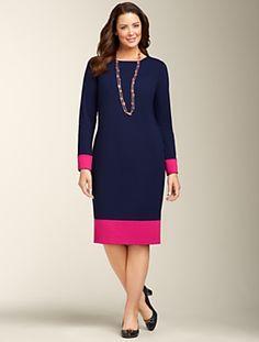 Talbots - Ponté Knit Colorblocked Sheath   New Arrivals   Woman