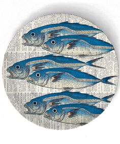 Fish  6 Fish on 10 inch Melamine Plate by TheMadPlatters on Etsy, $18.00
