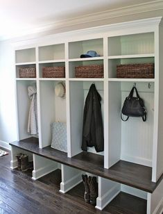 Mud Room - Love this design - the bottom is open for boots, individual spaces for gear and double shelves above. Mudroom Cubbies, Mudroom Laundry Room, Mud Room Lockers, Garage Mudrooms, Entry Way Lockers, Wooden Lockers, Mudroom Cabinets, Kids Cubbies, Diy Cabinets