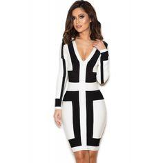 Black and White Graphic Print Bandage Dress http://www.irockbags.com/black-and-white-graphic-print-bandage-dress