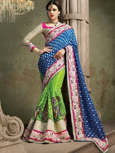 Z Fashion Trend: GREEN WITH BLUE PARTY WEAR DESIGNER SAREE