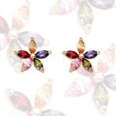 Damen-Blüten-Ohrstecker mit Swarovski® Elements