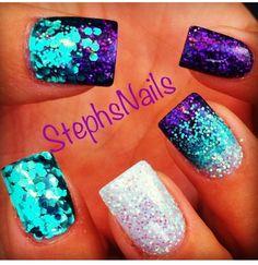 Nails Get Nails, Love Nails, How To Do Nails, Pretty Nails, Sparkle Nails, Fancy Nails, Glitter Nails, Mermaid Nail Art, Toe Nail Designs