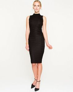Allover Lace Mock-neck Fitted Dress