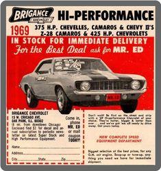 1969 Brigance Chevrolet Performance Ad Vintage Look Metal Sign Automobile, Chevy Muscle Cars, Chevrolet Camaro, Chevrolet Dealership, Corvette, Chevrolet Usa, 1968 Camaro, Camaro Ss, Car Advertising