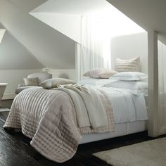 White Interior, Skylight, Portland Bed Linen - The White Company