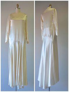 Fabulous Flapper 1930's Silk Satin Wedding Dress | Flapper Dress | Bridal Dress | Vintage Wedding Dress