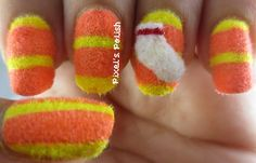 Monster's Inc Code 2319 - Freehand fuzzy nails with flocking