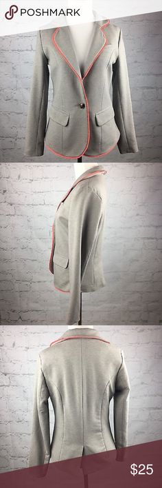 Cynthia Rowley gray blazer medium Gray blazer with salmon pink piping. Dark blue lining. Size medium. Has one button and real pockets!! This is an awesome piece to add to your wardrobe! Cynthia Rowley Jackets & Coats Blazers