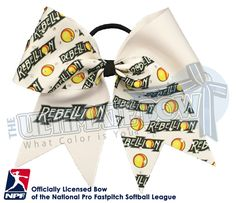 Proudly wear your PA Rebellion - Official Rhinestone Logo Bow and show your support for your favorite National Pro Fastpitch Softball Team!