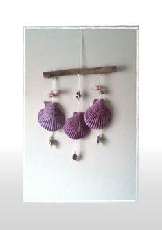 Sea Shell Purple Mini-Wind Chime/SuncatcherNo Yard -- Hangs in Open Windows - Beach Theme, Coastal, Nautical Theme, Window Chime/Suncatcher