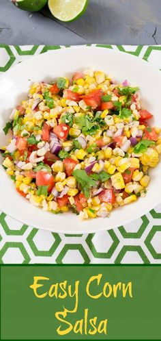 This corn salsa adds sweetness and unique flavor to a spicy Mexican dish. Vegan, low fat, gluten free, paleo recipe is perfect for cookouts or weeknight dinners.