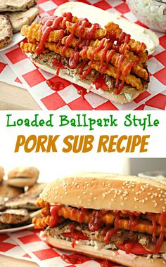 Ballpark Style Pork Sub Sandwich! Check out this EASY loaded pork sub sandwich recipe! Loaded with Smithfield Roasted Garlic & Herb Loin Filet, coleslaw, tomatoes and french fries - you'll want to devour this sub before game time! #RealFlavorRealFast | ad @smithfieldfoods @walmart