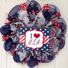 Hey, I found this really awesome Etsy listing at https://www.etsy.com/listing/236125780/i-love-usa-patriotic-deco-mesh-wreath
