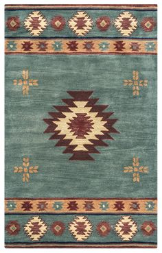 Rizzy Home Southwest Area Rug-Inspired by the distinctive styling of Native American art and textiles, the Southwest collection sets the tone for a room that wants to reflect timeless character. Each piece is hand-crafted of soft blended wool Rustic Rugs, Rustic Decor, Wool Area Rugs, Blue Area Rugs, Southwest Rugs, Southwest Style, Earthy Home Decor, Deco Boheme, Bohemian Rug