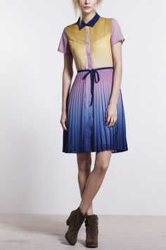 ombre pleated shirtdress. anthropologie. $198