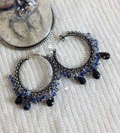 Blue Kyanite Earrings Hoop Oxidized Silver by DoolittleJewelry