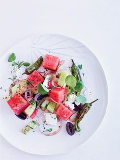 Watermelon, Feta and Charred Pepper Salad Recipe | http://aol.it/1sRhLAn