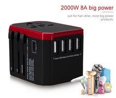 WADAP® the best International Plug [US UK EU AU] Travel Adapter with Five USB Charging Ports