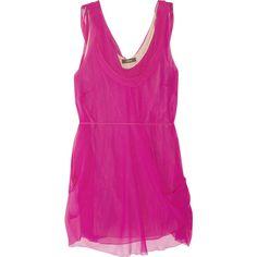 Vera Wang Draped silk-chiffon tunic ($335) ❤ liked on Polyvore featuring tops, tunics, dresses, shirts, pink, drape top, drape shirt, drapey shirt, drapey top and shirt tunic