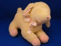 New product 'RUSS Cream Asleep Lullaby Lamb Pink Accents Jesus Loves Me' added to Dirty Butter Plush Animal Shoppe! - $10.00 - RUSS No. 5818 Plush Stuffed Cream Sleeping LULLABY LAMB Wooly Chenille Lamb Pink Velour Feet, Ribbon, White Satin Ears -…