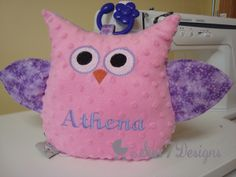 Stuffed Owl with crinkle wings and removable teething toy.  www.sun7designs.com