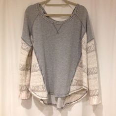 Free people pullover Gray pullover with sweater arms and sides. Super comfy and great condition. Free People Sweaters Crew & Scoop Necks