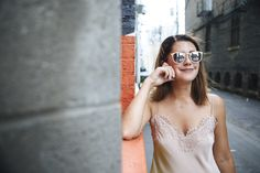Smoke & Mirrors sunglasses + Zimmermann slip dress