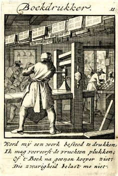 Plate 11: Book printer; in the foreground, back view of a man working by a printing press, printed sheets drying on strings stretched across the ceiling; customers buying books at the counter at right middle ground; cityscape seen through the open door at right background.  1695.